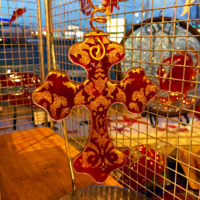 Christmas Cross Red Gold